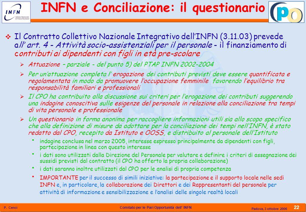 Comitato per le Pari Opportunità dell INFN P. Cenci 22 Padova, 3 ottobre 2006 Il Contratto Collettivo Nazionale Integrativo dellINFN (3.11.03) prevede