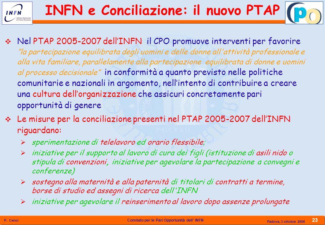 Comitato per le Pari Opportunità dell INFN P. Cenci 23 Padova, 3 ottobre 2006 Nel PTAP 2005-2007 dellINFN il CPO promuove interventi per favorire la p