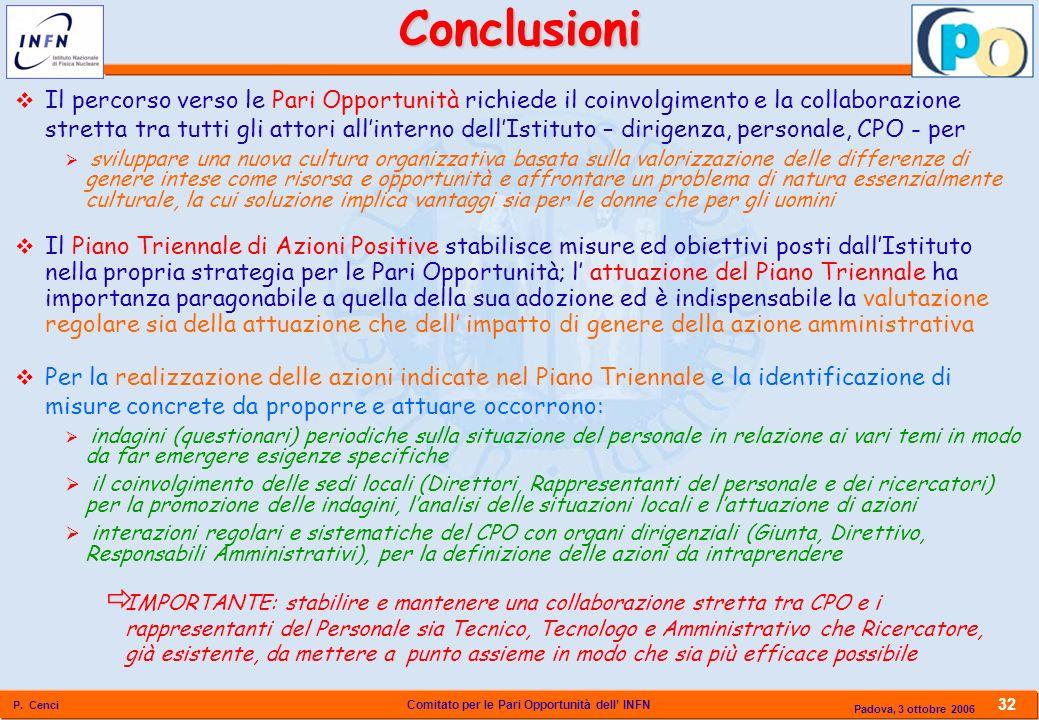 Comitato per le Pari Opportunità dell INFN P. Cenci 32 Padova, 3 ottobre 2006Conclusioni Il percorso verso le Pari Opportunità richiede il coinvolgime