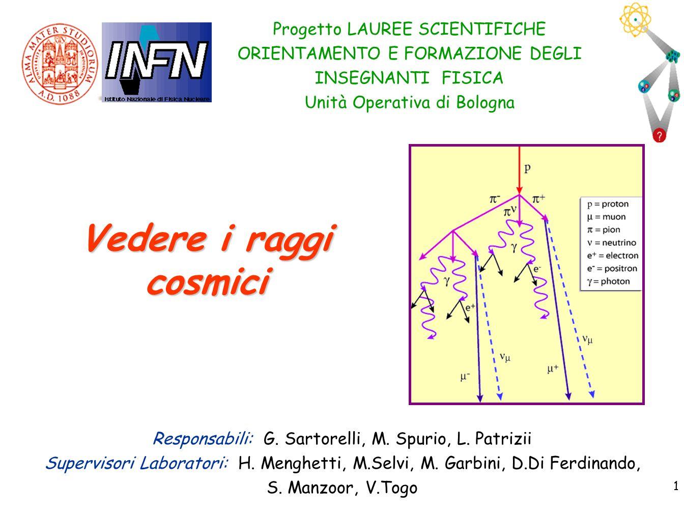 1 1 Progetto LAUREE SCIENTIFICHE ORIENTAMENTO E FORMAZIONE DEGLI INSEGNANTI FISICA Unità Operativa di Bologna Vedere i raggi cosmici Responsabili: G.