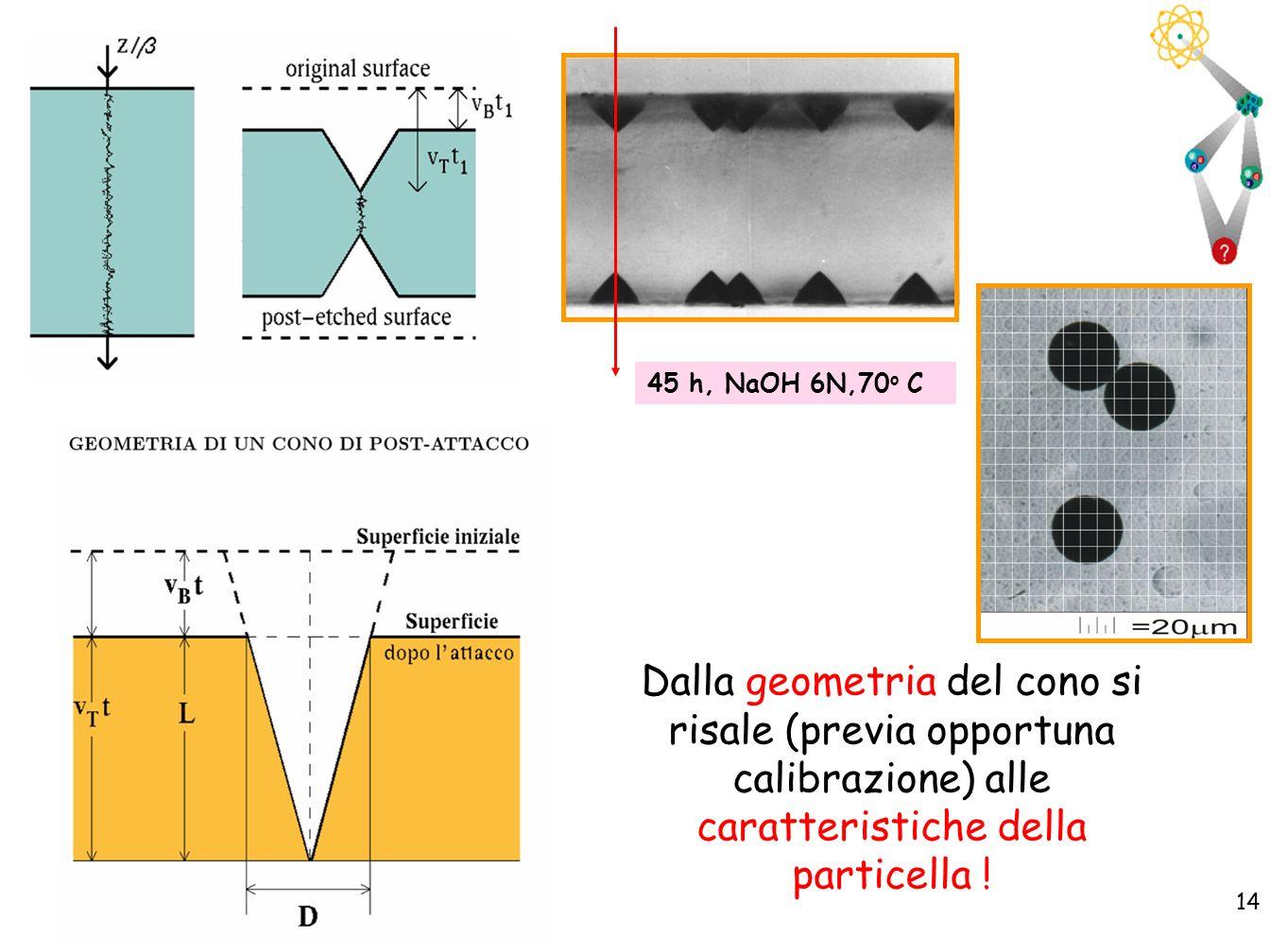 14 45 h, NaOH 6N,70 o C Dalla geometria del cono si risale (previa opportuna calibrazione) alle caratteristiche della particella !