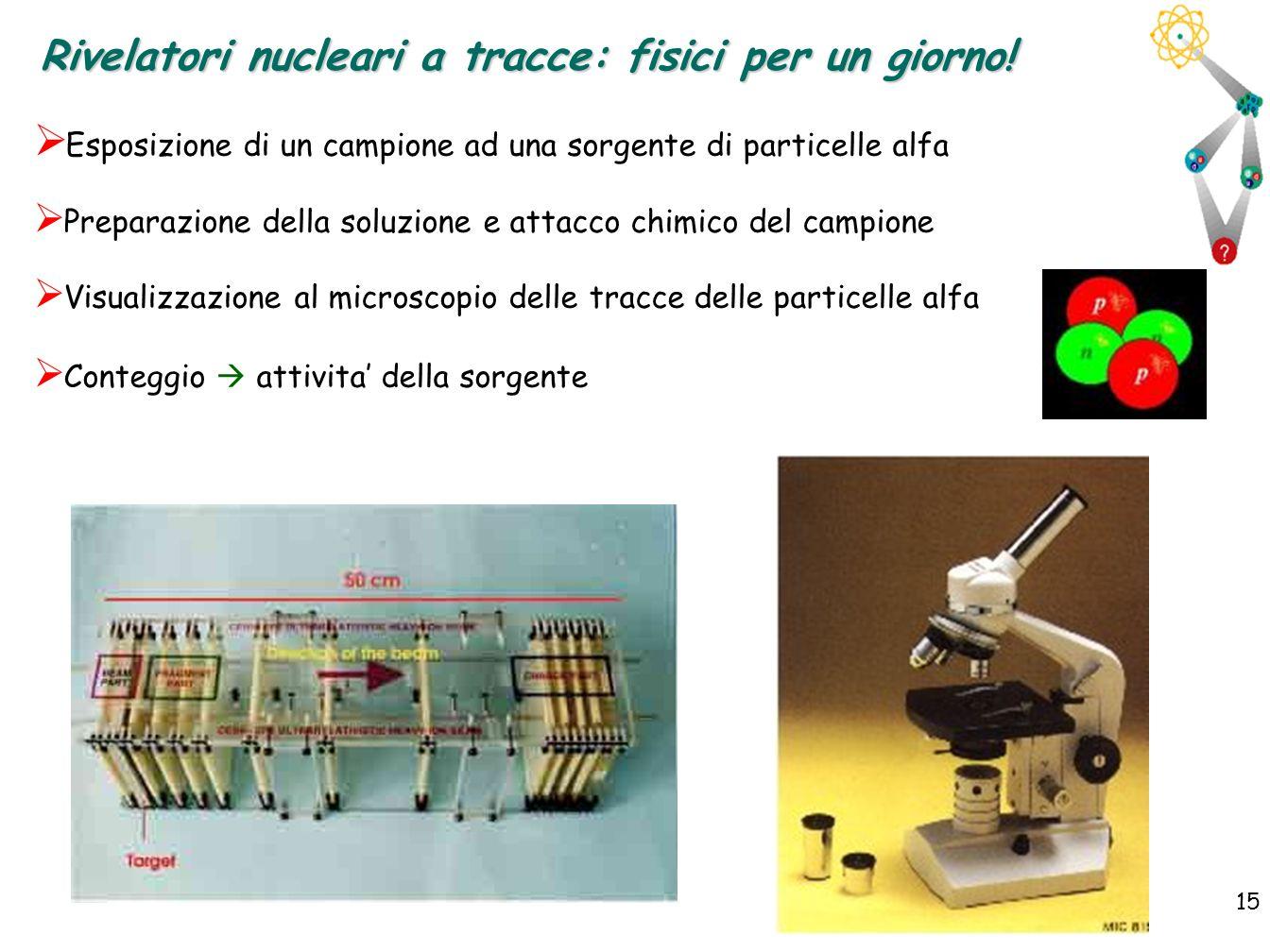 15 Esposizione di un campione ad una sorgente di particelle alfa Preparazione della soluzione e attacco chimico del campione Visualizzazione al micros