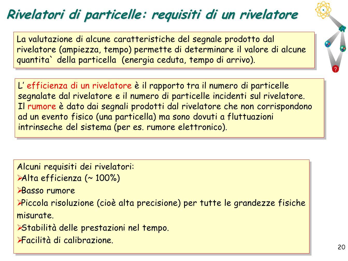 20 Rivelatori di particelle: requisiti di un rivelatore La valutazione di alcune caratteristiche del segnale prodotto dal rivelatore (ampiezza, tempo)