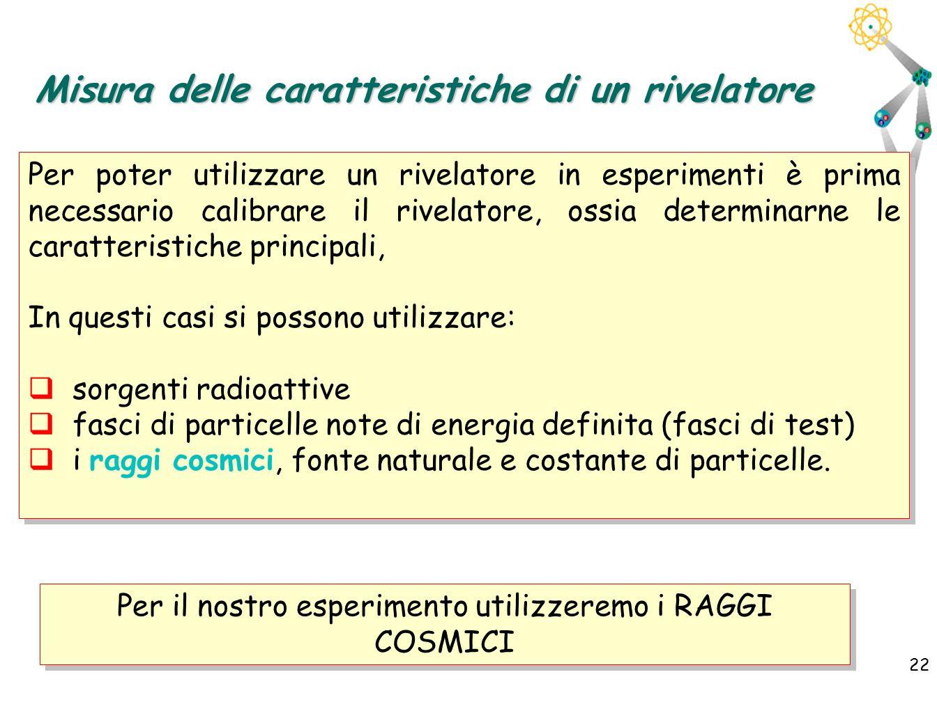 22 Misura delle caratteristiche di un rivelatore Per poter utilizzare un rivelatore in esperimenti è prima necessario calibrare il rivelatore, ossia d