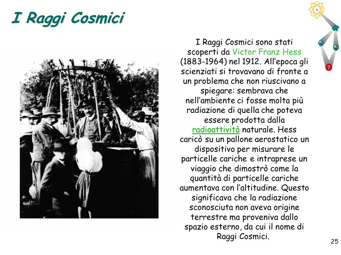 25 I Raggi Cosmici I Raggi Cosmici sono stati scoperti da Victor Franz Hess (1883-1964) nel 1912. Allepoca gli scienziati si trovavano di fronte a un
