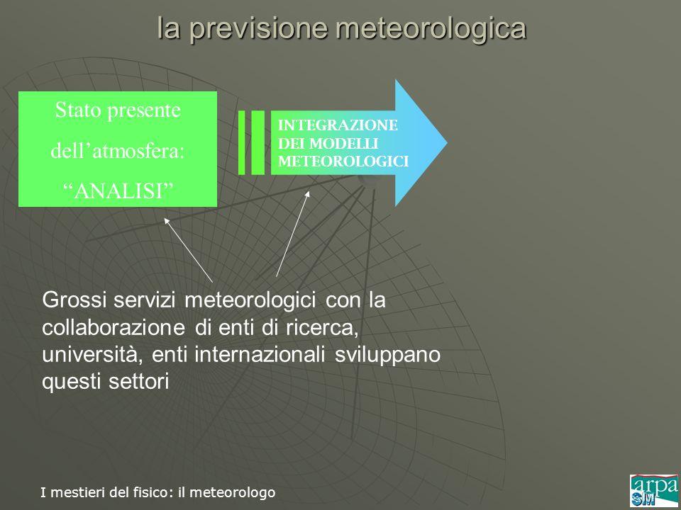 I mestieri del fisico: il meteorologo Stato presente dellatmosfera: ANALISI INTEGRAZIONE DEI MODELLI METEOROLOGICI la previsione meteorologica Grossi