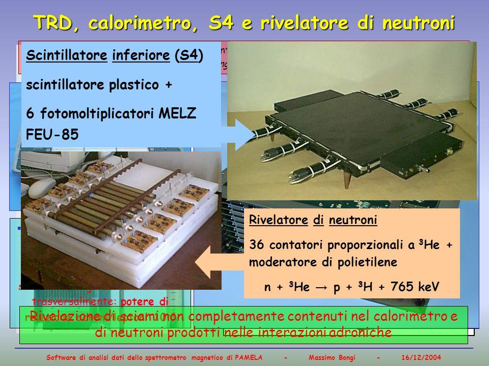 Software di analisi dati dello spettrometro magnetico di PAMELA - Massimo Bongi - 16/12/2004 TRD, calorimetro, S4 e rivelatore di neutroni straw-tubes