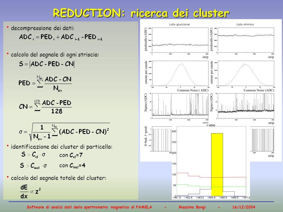 Software di analisi dati dello spettrometro magnetico di PAMELA - Massimo Bongi - 16/12/2004 decompressione dei dati: calcolo del segnale di ogni stri