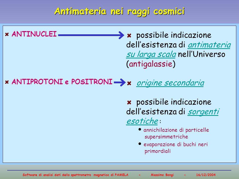Software di analisi dati dello spettrometro magnetico di PAMELA - Massimo Bongi - 16/12/2004 Antimateria nei raggi cosmici Frazione di positroniFlusso