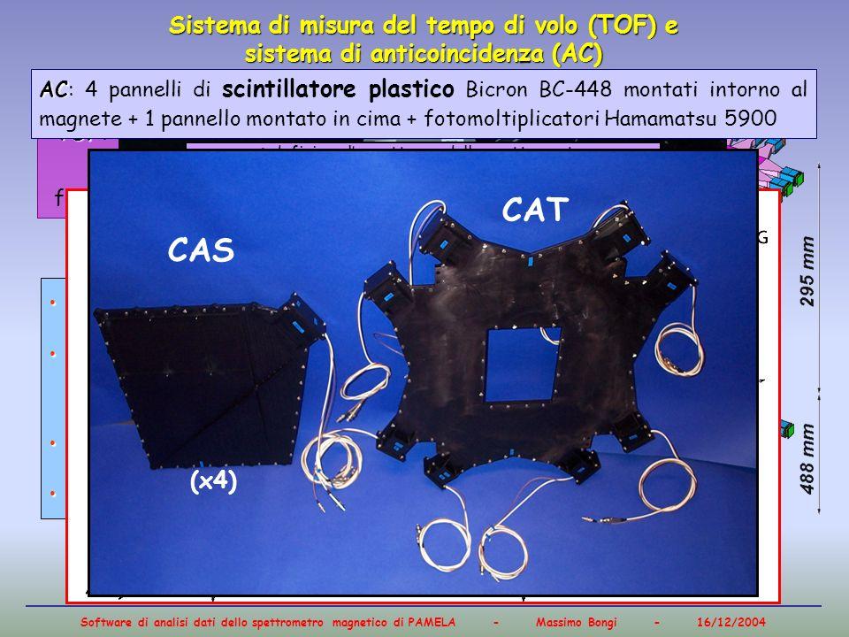 Software di analisi dati dello spettrometro magnetico di PAMELA - Massimo Bongi - 16/12/2004 Sistema di misura del tempo di volo (TOF) e sistema di an