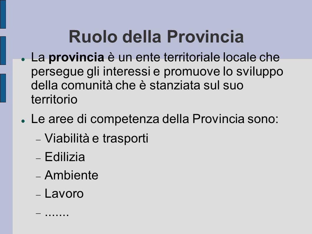 Ruolo della Provincia La provincia è un ente territoriale locale che persegue gli interessi e promuove lo sviluppo della comunità che è stanziata sul suo territorio Le aree di competenza della Provincia sono: Viabilità e trasporti Edilizia Ambiente Lavoro.......