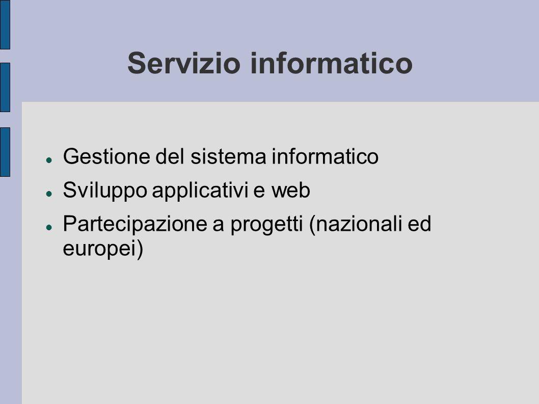 Il Servizio Area Sistema Gestire il sistema Circa 100 server (Database,Server Applicativi, condivisione file, Autenticazione, Siti web, Posta elettronica, etc...