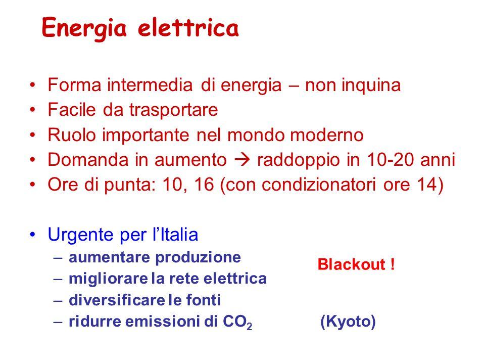 Energia elettrica Forma intermedia di energia – non inquina Facile da trasportare Ruolo importante nel mondo moderno Domanda in aumento raddoppio in 1