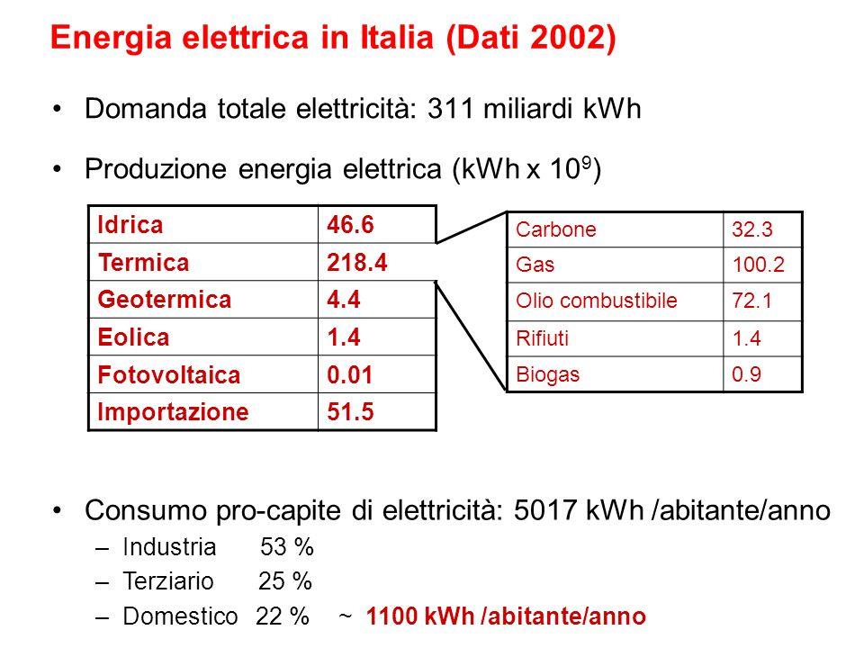 Energia elettrica in Italia (Dati 2002) Domanda totale elettricità: 311 miliardi kWh Carbone32.3 Gas100.2 Olio combustibile72.1 Rifiuti1.4 Biogas0.9 I