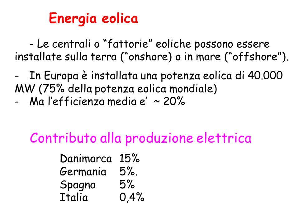 - Le centrali o fattorie eoliche possono essere installate sulla terra (onshore) o in mare (offshore). -In Europa è installata una potenza eolica di 4