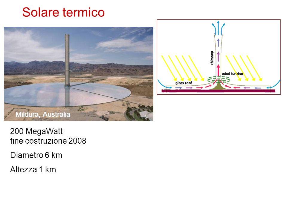 Solare termico Mildura, Australia 200 MegaWatt fine costruzione 2008 Diametro 6 km Altezza 1 km
