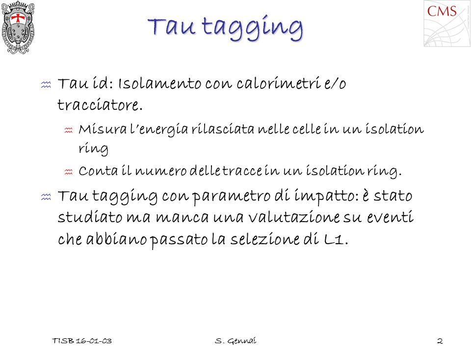 TISB 16-01-03S. Gennai2 Tau tagging Tau id: Isolamento con calorimetri e/o tracciatore.