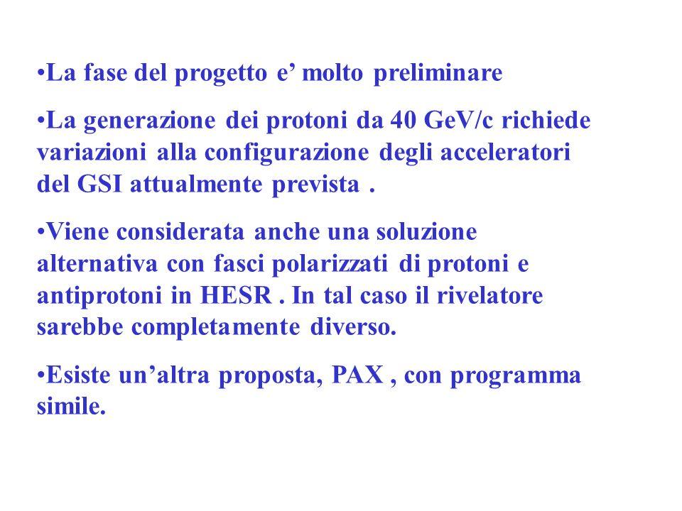 La fase del progetto e molto preliminare La generazione dei protoni da 40 GeV/c richiede variazioni alla configurazione degli acceleratori del GSI attualmente prevista.