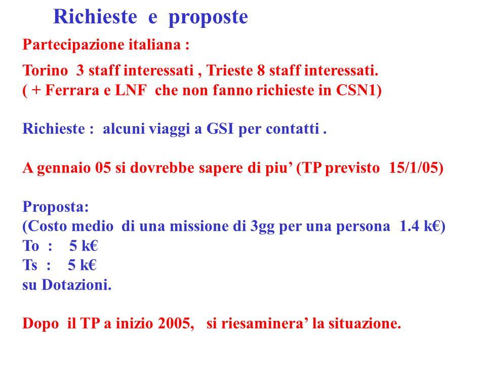 Partecipazione italiana : Torino 3 staff interessati, Trieste 8 staff interessati.