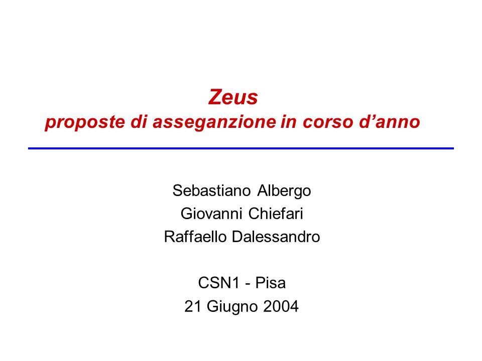 Zeus proposte di asseganzione in corso danno Sebastiano Albergo Giovanni Chiefari Raffaello Dalessandro CSN1 - Pisa 21 Giugno 2004