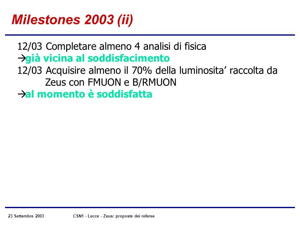 23 Settembre 2003CSN1 - Lecce - Zeus: proposte dei referee Milestones 2003 (ii) 12/03 Completare almeno 4 analisi di fisica già vicina al soddisfacimento 12/03 Acquisire almeno il 70% della luminosita raccolta da Zeus con FMUON e B/RMUON al momento è soddisfatta