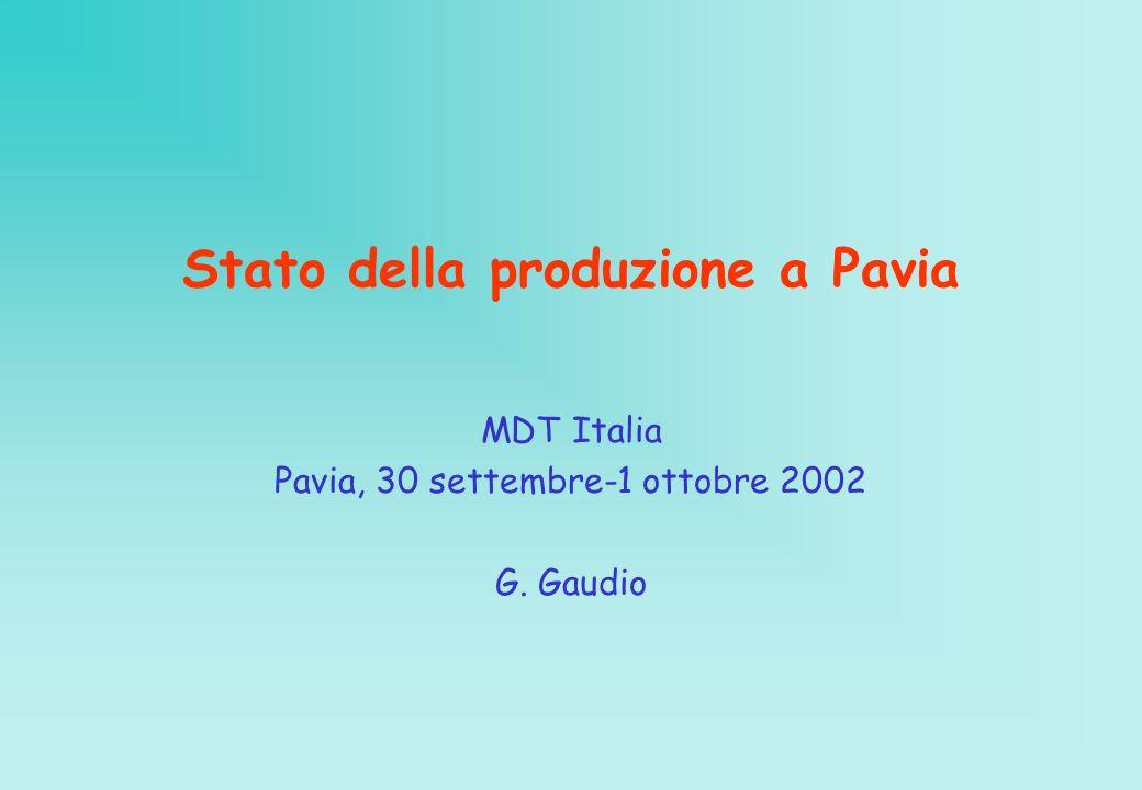 Stato della produzione a Pavia MDT Italia Pavia, 30 settembre-1 ottobre 2002 G. Gaudio