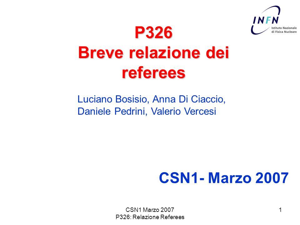 CSN1 Marzo 2007 P326: Relazione Referees 2 P326: Relazione dei referees breve riassunto la Collaborazione aveva presentato allSPSC una proposta per la misura del rapporto Ke2/Kmu2 con una precisione dello 0.4%.