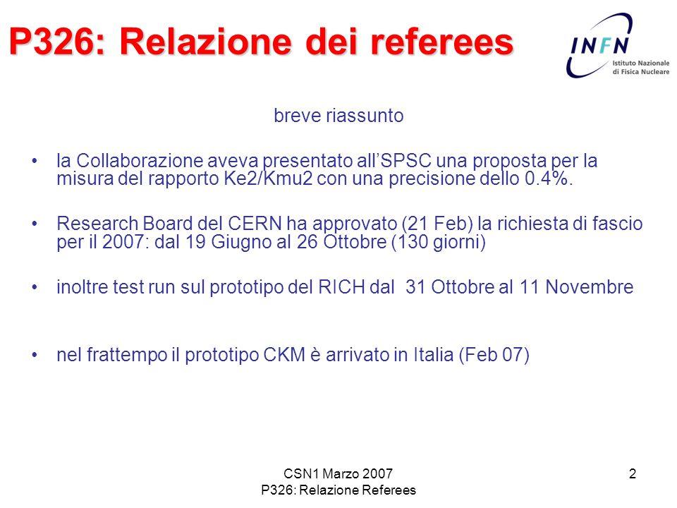 CSN1 Marzo 2007 P326: Relazione Referees 3 P326: Relazione dei referees Nellultima riunione si era deciso che la priorità delle future disponibilità sarebbe stata per P326.