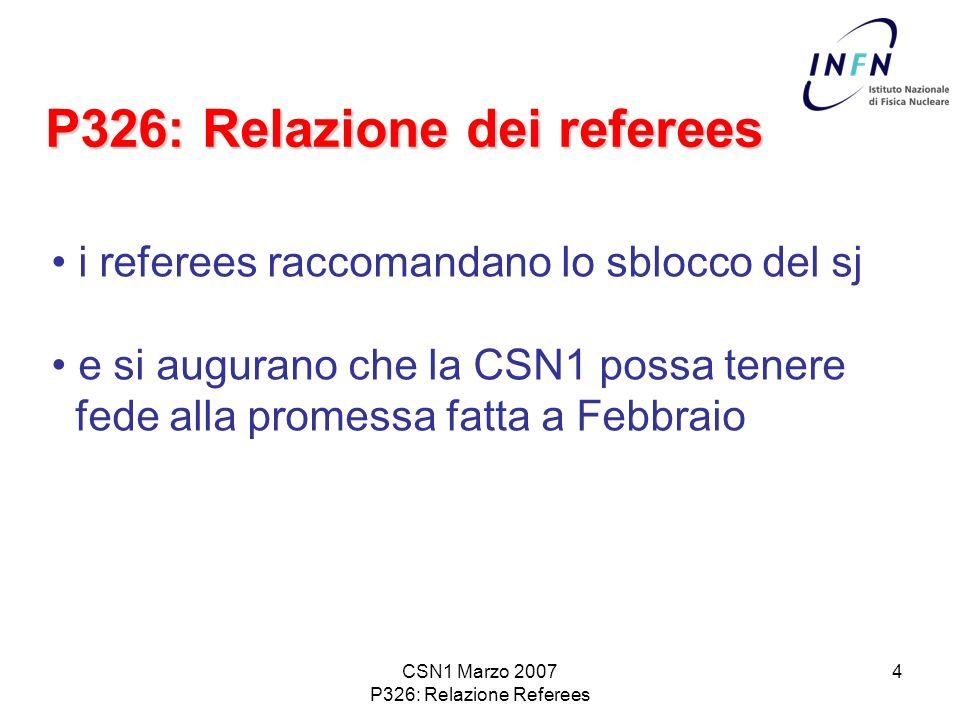 CSN1 Marzo 2007 P326: Relazione Referees 4 P326: Relazione dei referees i referees raccomandano lo sblocco del sj e si augurano che la CSN1 possa tenere fede alla promessa fatta a Febbraio