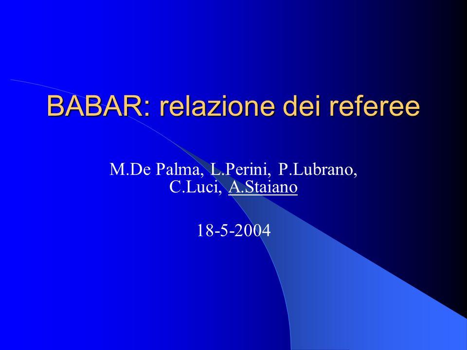 BABAR: relazione dei referee M.De Palma, L.Perini, P.Lubrano, C.Luci, A.Staiano 18-5-2004