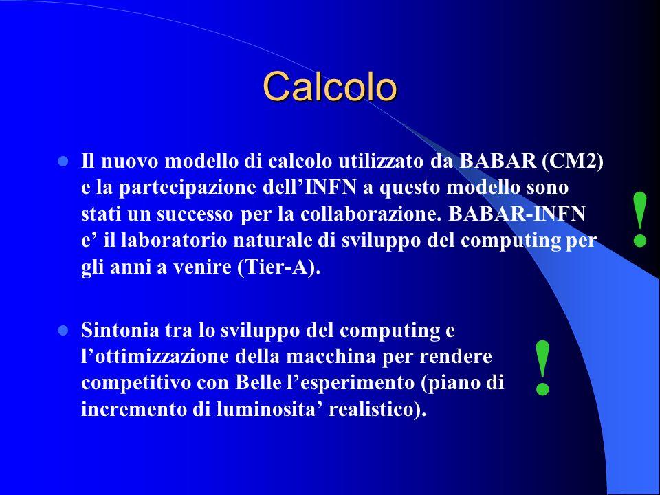 Calcolo Il nuovo modello di calcolo utilizzato da BABAR (CM2) e la partecipazione dellINFN a questo modello sono stati un successo per la collaborazione.
