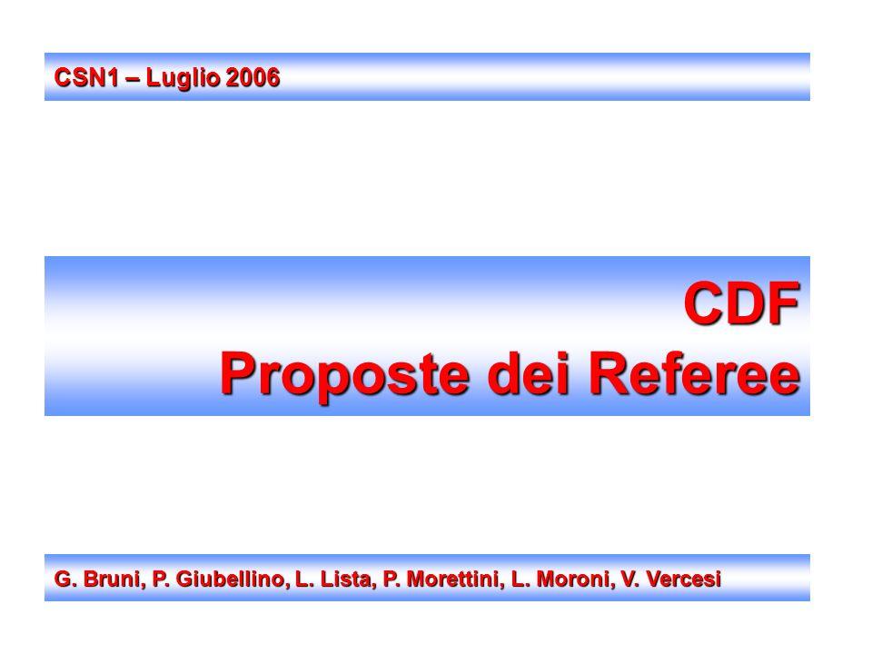 CDF Proposte dei Referee G. Bruni, P. Giubellino, L. Lista, P. Morettini, L. Moroni, V. Vercesi CSN1 – Luglio 2006