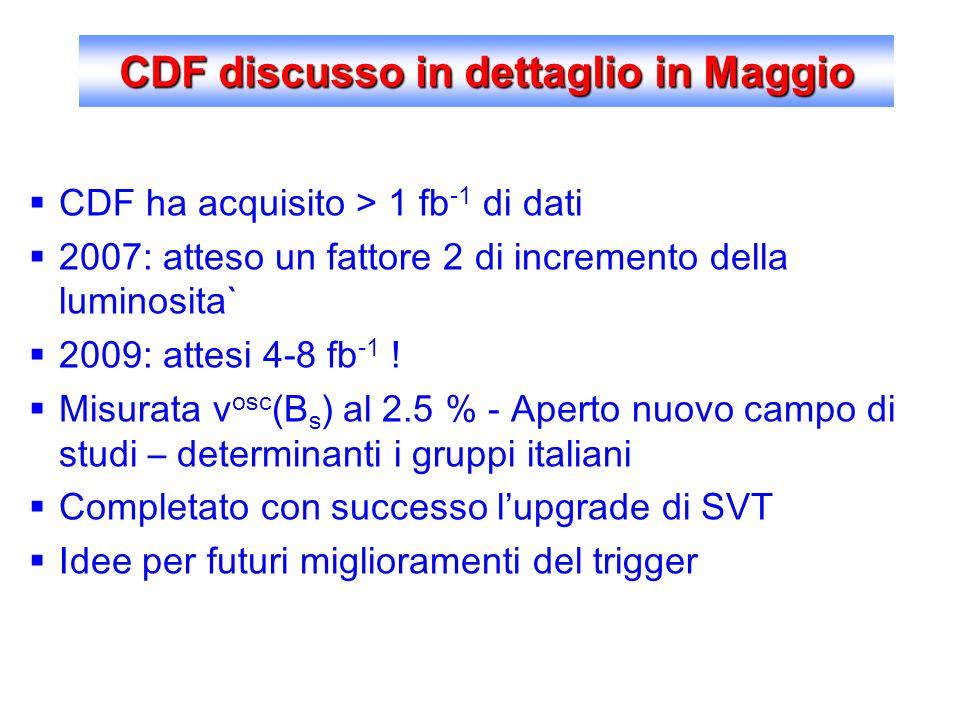 CDF discusso in dettaglio in Maggio CDF ha acquisito > 1 fb -1 di dati 2007: atteso un fattore 2 di incremento della luminosita` 2009: attesi 4-8 fb -1 .