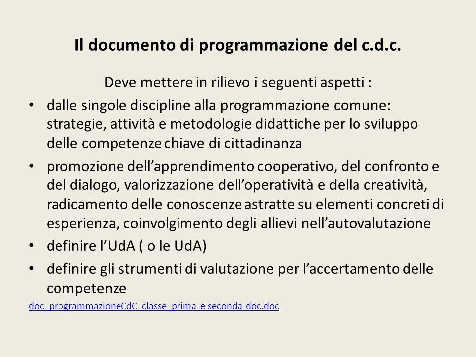 Il documento di programmazione del c.d.c.