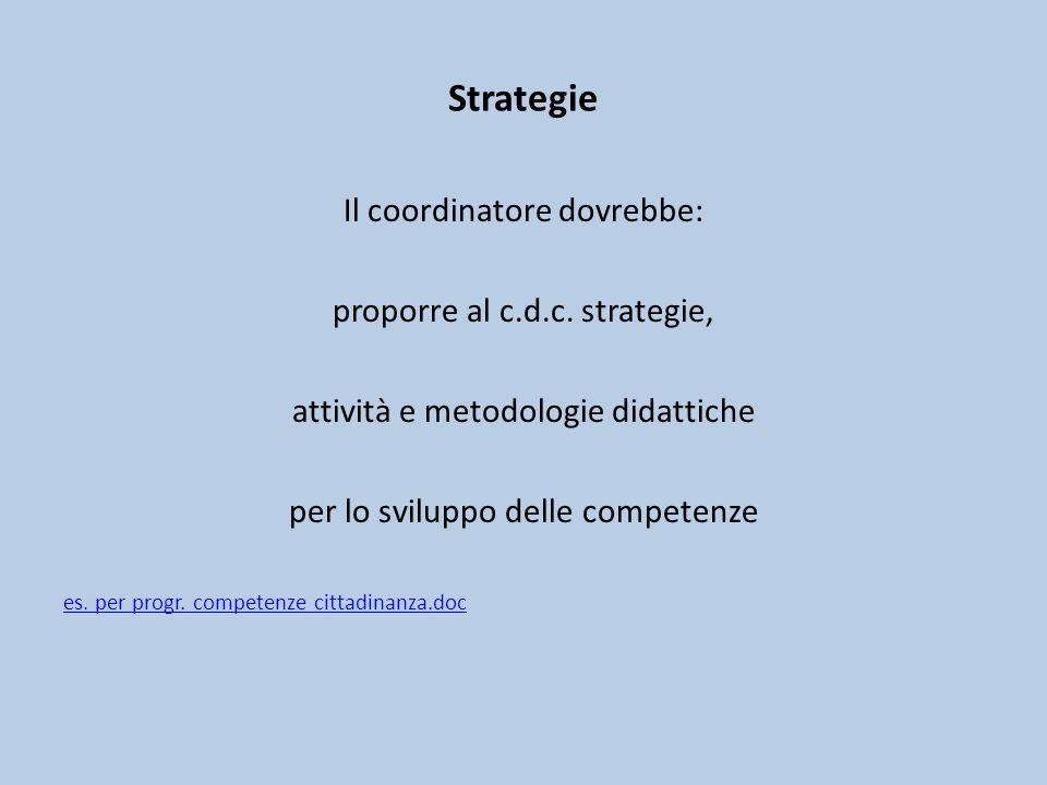 Strategie Il coordinatore dovrebbe: proporre al c.d.c.