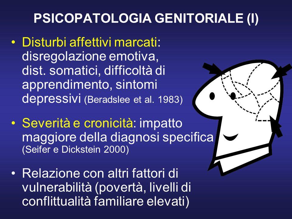 PSICOPATOLOGIA GENITORIALE (I) Disturbi affettivi marcati: disregolazione emotiva, dist.