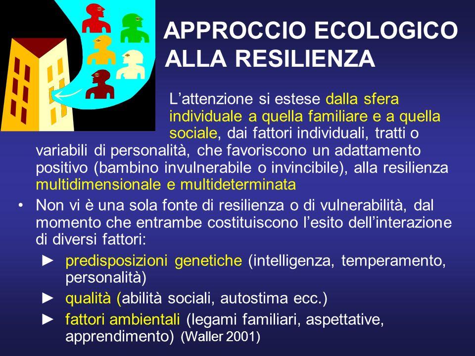 APPROCCIO ECOLOGICO ALLA RESILIENZA Lattenzione si estese dalla sfera individuale a quella familiare e a quella sociale, dai fattori individuali, tratti o variabili di personalità, che favoriscono un adattamento positivo (bambino invulnerabile o invincibile), alla resilienza multidimensionale e multideterminata Non vi è una sola fonte di resilienza o di vulnerabilità, dal momento che entrambe costituiscono lesito dellinterazione di diversi fattori: predisposizioni genetiche (intelligenza, temperamento, personalità) qualità (abilità sociali, autostima ecc.) fattori ambientali (legami familiari, aspettative, apprendimento) (Waller 2001)