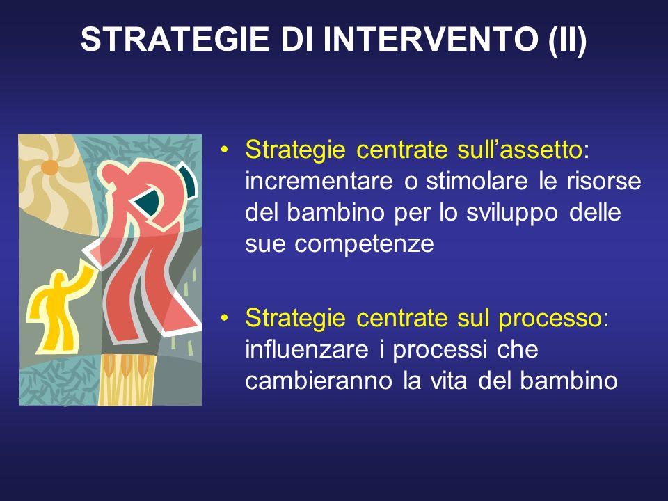 STRATEGIE DI INTERVENTO (II) Strategie centrate sullassetto: incrementare o stimolare le risorse del bambino per lo sviluppo delle sue competenze Strategie centrate sul processo: influenzare i processi che cambieranno la vita del bambino