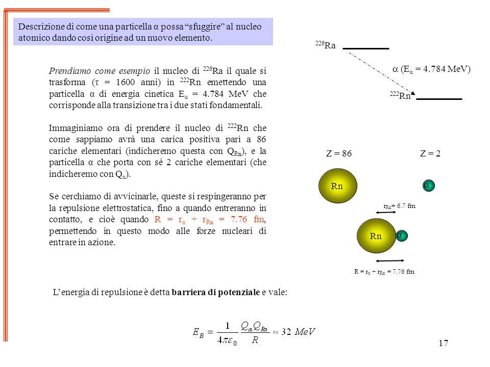 17 Descrizione di come una particella α possa sfuggire al nucleo atomico dando così origine ad un nuovo elemento. Prendiamo come esempio il nucleo di