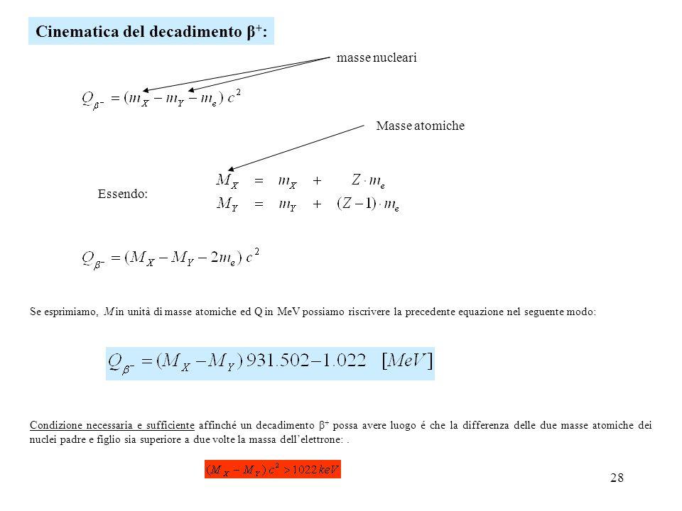 28 masse nucleari Se esprimiamo, M in unità di masse atomiche ed Q in MeV possiamo riscrivere la precedente equazione nel seguente modo: Cinematica de