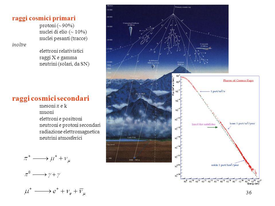 36 raggi cosmici primari protoni (~ 90%) nuclei di elio (~ 10%) nuclei pesanti (tracce) inoltre elettroni relativistici raggi X e gamma neutrini (sola