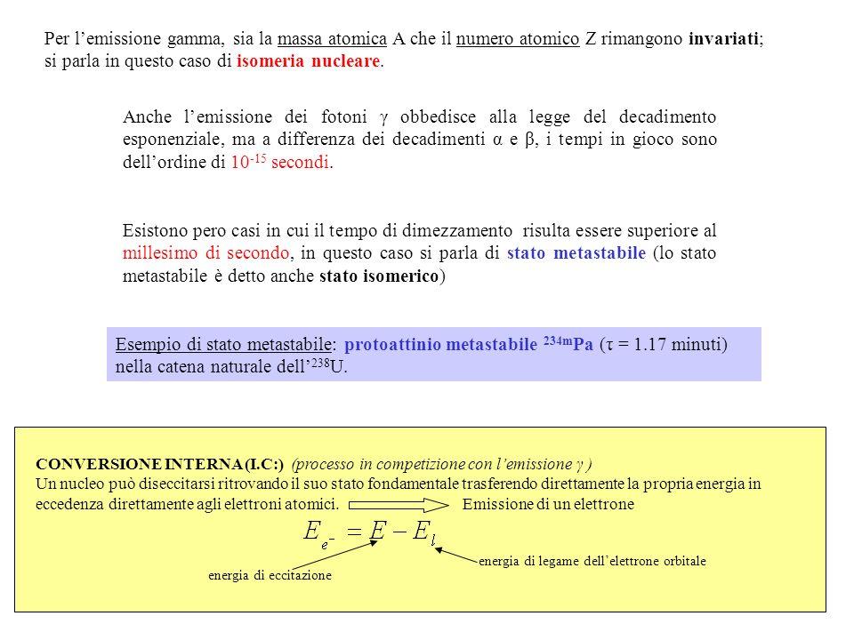 Per lemissione gamma, sia la massa atomica A che il numero atomico Z rimangono invariati; si parla in questo caso di isomeria nucleare. Anche lemissio