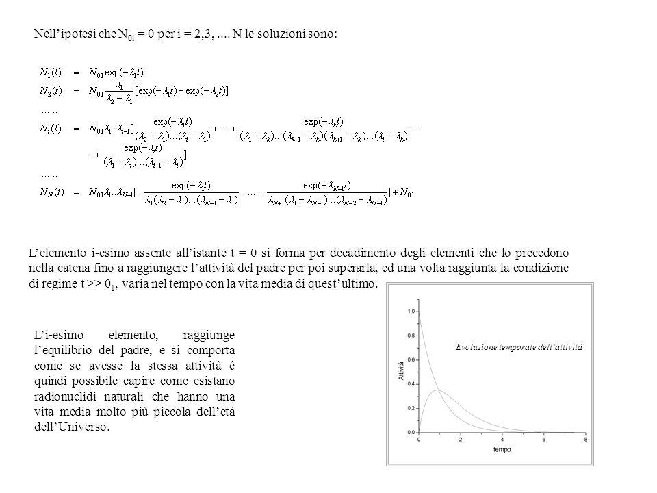Nellipotesi che N 0i = 0 per i = 2,3,.... N le soluzioni sono: Lelemento i-esimo assente allistante t = 0 si forma per decadimento degli elementi che