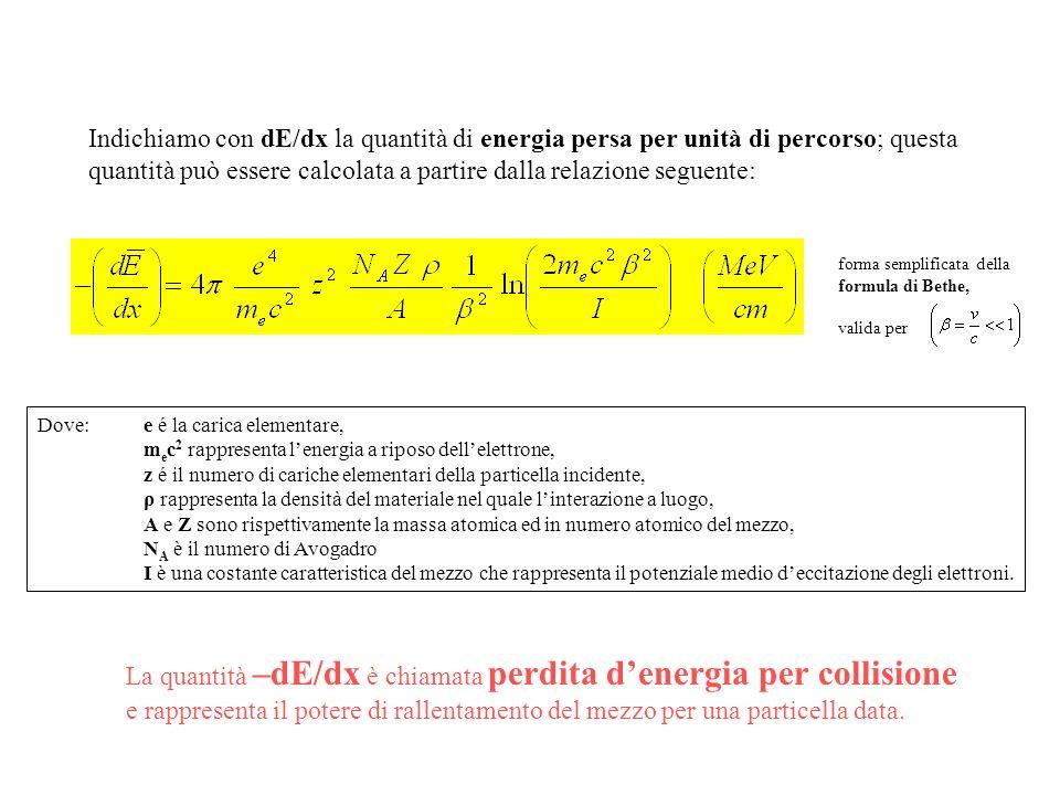 Indichiamo con dE/dx la quantità di energia persa per unità di percorso; questa quantità può essere calcolata a partire dalla relazione seguente: Dove