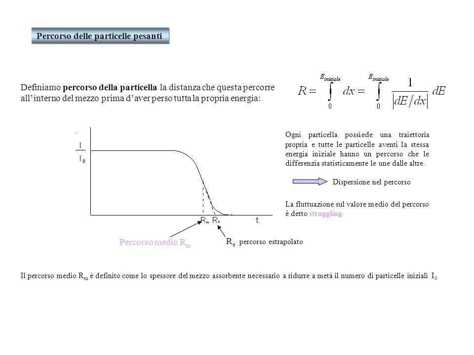 Percorso delle particelle pesanti Definiamo percorso della particella la distanza che questa percorre allinterno del mezzo prima daver perso tutta la