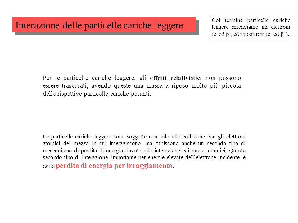 Interazione delle particelle cariche leggere Col termine particelle cariche leggere intendiamo gli elettroni (e - ed β - ) ed i positroni (e + ed β +