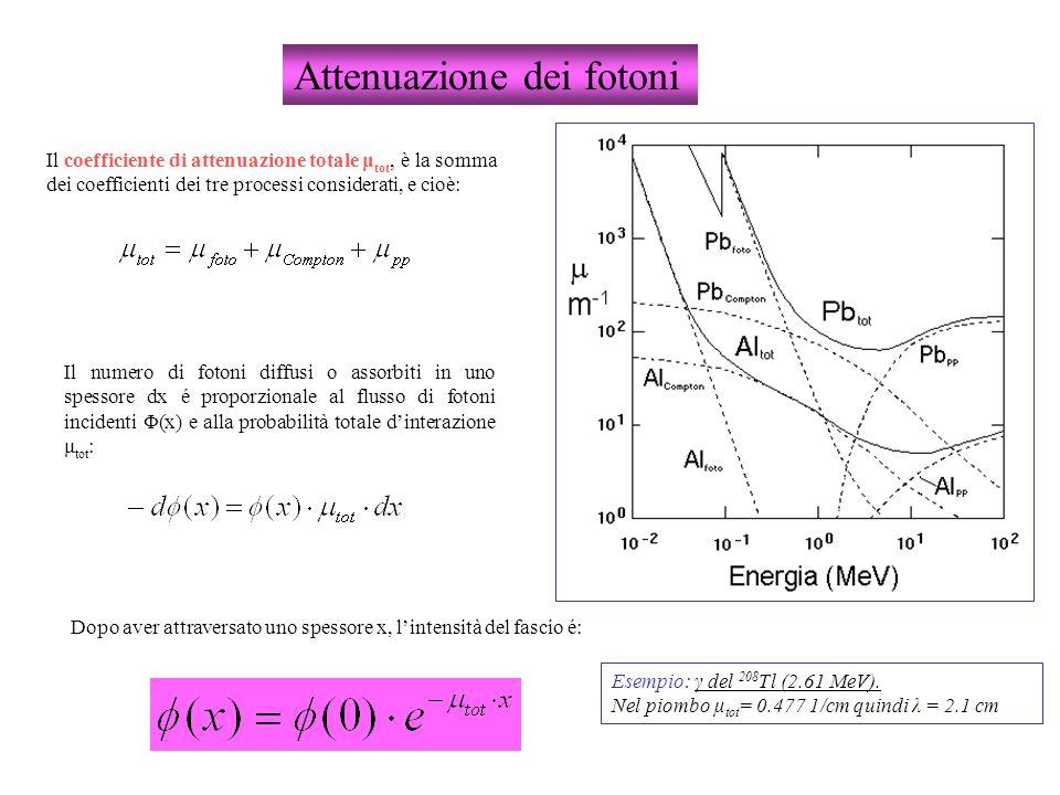 Attenuazione dei fotoni Il coefficiente di attenuazione totale μ tot, è la somma dei coefficienti dei tre processi considerati, e cioè: Il numero di f
