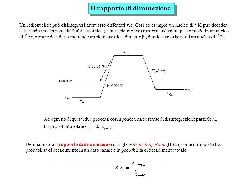 Attenuazione dei fotoni Il coefficiente di attenuazione totale μ tot, è la somma dei coefficienti dei tre processi considerati, e cioè: Il numero di fotoni diffusi o assorbiti in uno spessore dx é proporzionale al flusso di fotoni incidenti Φ(x) e alla probabilità totale dinterazione μ tot : Dopo aver attraversato uno spessore x, lintensità del fascio é: Esempio: γ del 208 Tl (2.61 MeV).