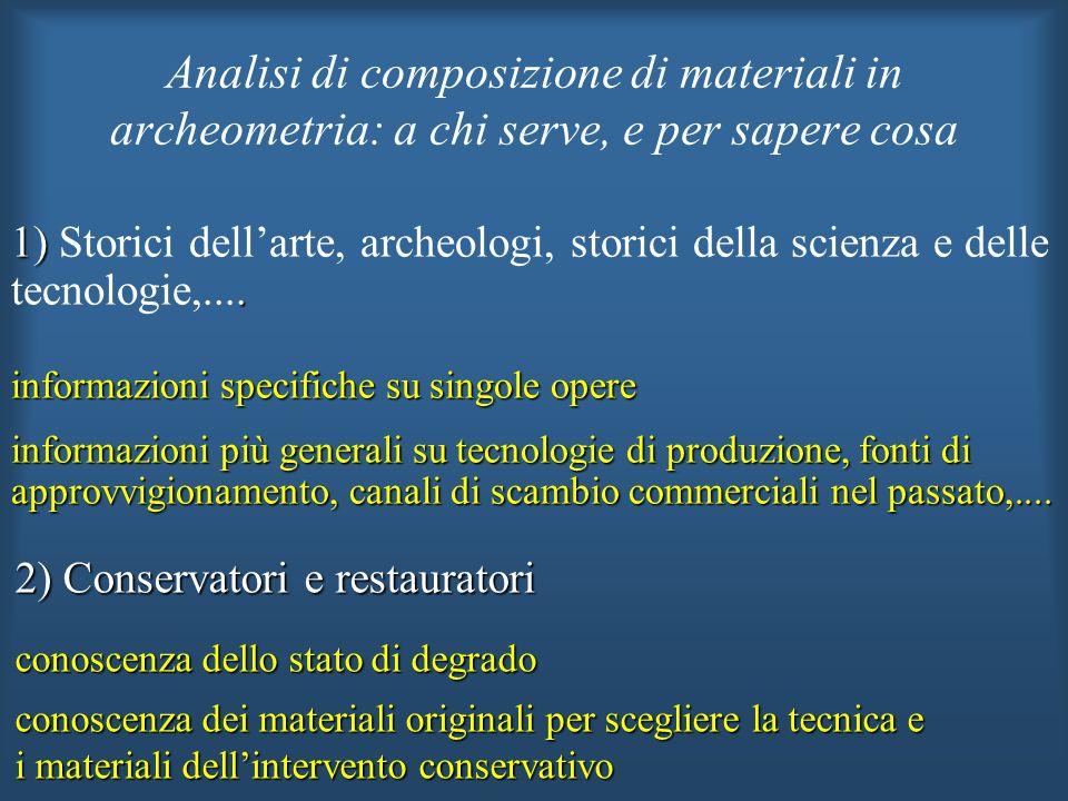 2) Conservatori e restauratori conoscenza dello stato di degrado conoscenza dei materiali originali per scegliere la tecnica e i materiali dellinterve