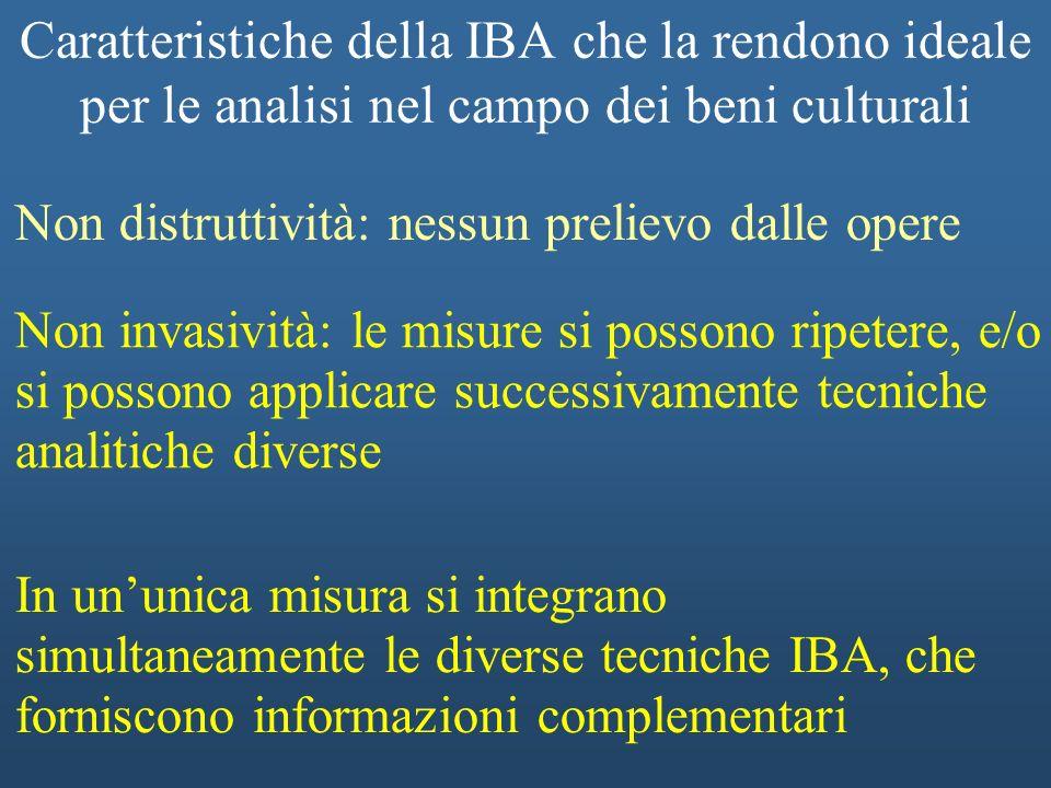 Caratteristiche della IBA che la rendono ideale per le analisi nel campo dei beni culturali Non invasività: le misure si possono ripetere, e/o si poss